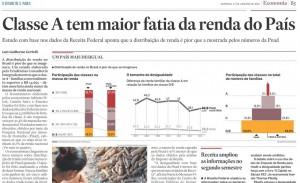 計算方式の変更により、富裕層Aが最大の所得配分を受けていることが明らかになったと報じる17日付エスタード紙