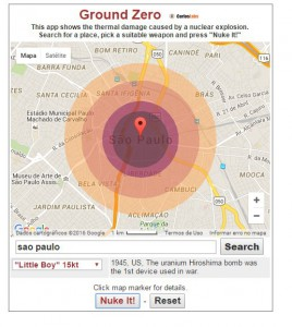 もし聖市セー広場で広島型原爆が爆発すれば、サンジョアキン駅手前まで火の玉に包まれ、即死する
