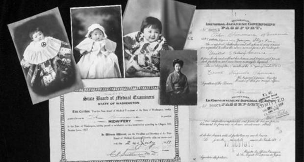 米アイダホ州での収容体験者の写真や書類(スミソニアン米歴史博物館提供・共同)