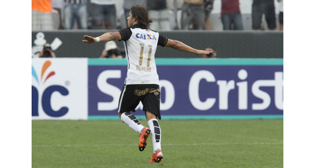 ロスタイムに辛くも決勝点を決めたコリンチャンスのロメロ(Daniel Augusto Jr./Ag. Corinthians)
