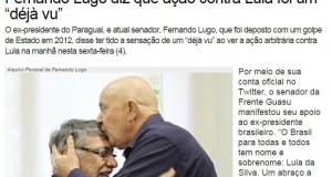 ルーゴ元大統領からの同情の声を報じるブラジルの左派サイト。写真中の右がガン治療中(当時)のルーラ、左がルーゴ