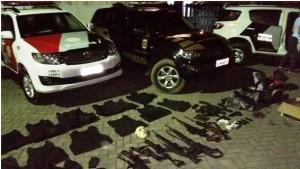 今年2月5日に聖州サンセバスチャン市で警察が押収した武器類(Foto: Polícia Federal)