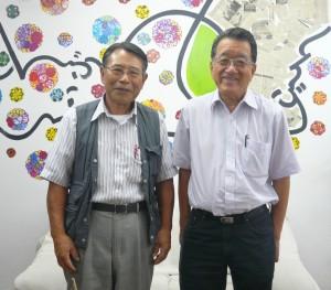 来社した宮城県人会の中沢宏一会長、長井さん
