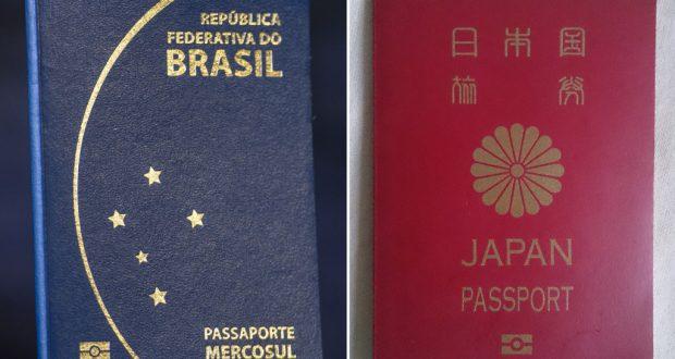 伯国(左)と日本の旅券