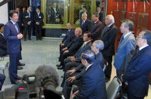来伯時、文協9階で「日伯の太い関係を作りたい」と語った安倍首相