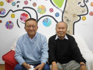 案内のため来社した片山会長、文野副会長