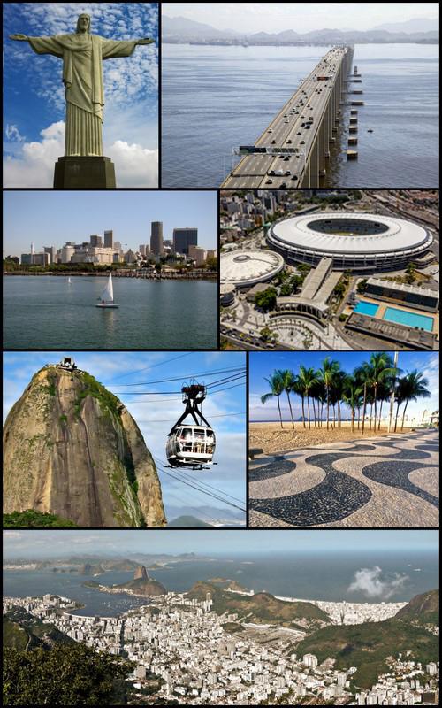 左上から: コルコバードのキリスト像、リオ・ニテロイ橋、セントロ地区、エスタジオ・ド・マラカナン、ポン・ヂ・アスーカル、コパカバーナビーチ、コルコバードから臨むパノラマ By Heitor Carvalho Jorge [GFDL (http://www.gnu.org/copyleft/fdl.html) or CC BY-SA 3.0 (http://creativecommons.org/licenses/by-sa/3.0)], via Wikimedia Commons
