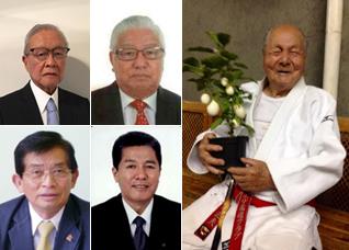 (上段左から)上田雅三さん、松尾治さん、篠原正夫さん (下段左から)木多喜八郎さん、尾西貞夫さん