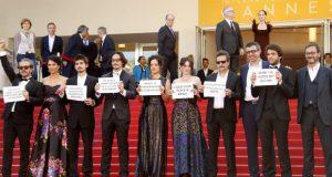 カンヌ映画祭での、「アクエリアス」出演者による抗議活動(Guillaume Horcajuelo/Agência Lusa/Direitos Reservados)