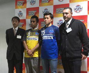 会見で意気込みを語った大泉の(左から)菊田さん、ブルーノ、MF八木橋両選手、サンターナ監督
