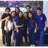 「スザノ日伯学園の日本語の先生(後列3人と前列左端1人)と生徒たち(前列右4人)、石森氏は後列右端