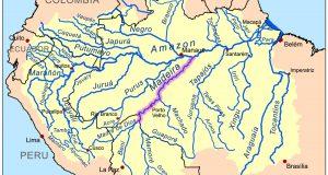 ベレンからアマゾン河を遡り、マナウス手前で支流マデイラ川にはいって、そこから761キロも上がって、ようやくポルト・ヴェーリョに辿りつく(By Kmusser, via Wikimedia Commons)