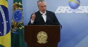 「ぜったいに辞任しない!」と声明を出したテメル大統領(Foto: Jose Cruz/Agencia Brasil)