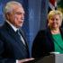 首脳会談後の記者会見でのテメル大統領(左)とソルベルグ首相(Beto Barata/PR/Fotos Publicas)