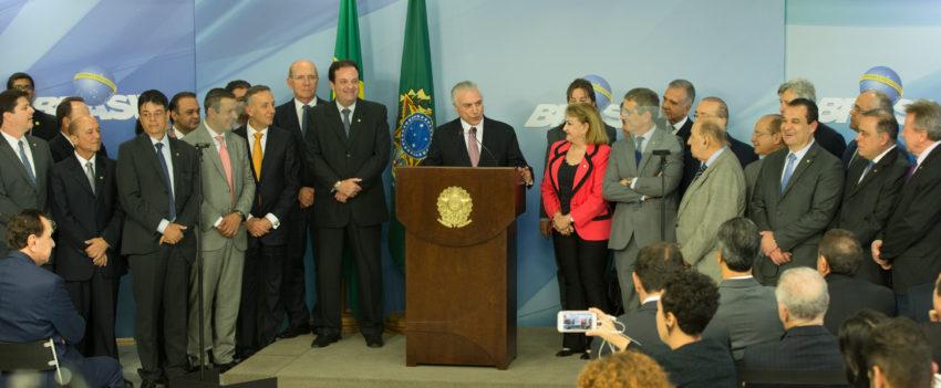 27日の釈明会見でのテメル大統領(Lula Marques/AGPT)