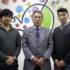 案内のため来社した松本事務、渡部会長、田中副会長
