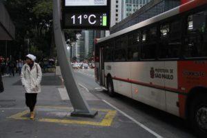 サンパウロ市パウリスタ大通りでも11度まで気温が下がった(Rovena Rosa/Agência Brasil)