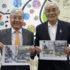 案内のため来社した平崎会長と村上佳和副会長