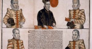1586年にドイツのアウグスブルグで印刷された、天正遣欧使節の肖像画(京都大学図書館蔵、From Wikimedia Commons)