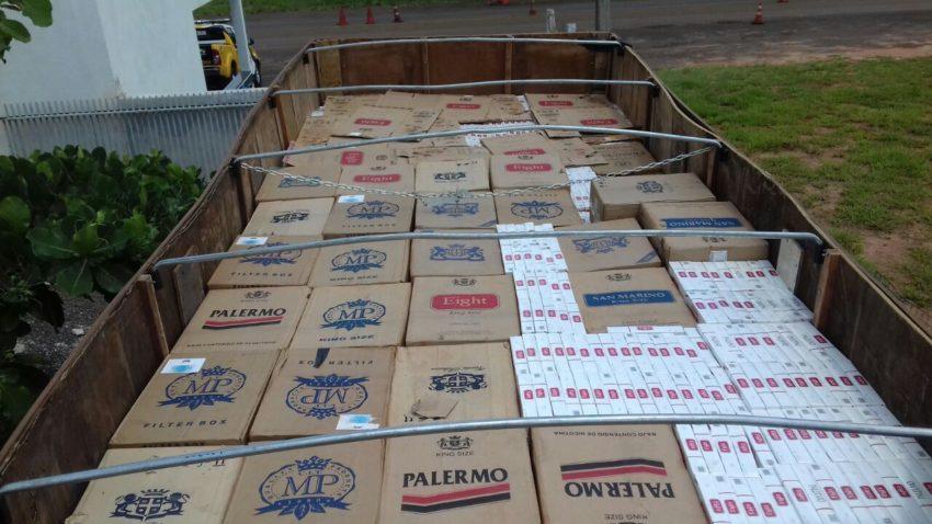 パラナ州警察が押収した、密輸煙草(PMPR)