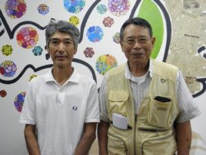 案内のため来社した鴻池さん、中沢会長