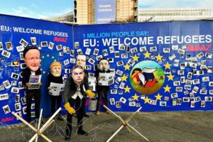 15年に発生した欧州難民危機で、各国政府に難民受け入れを求める人々が起こした抗議活動(Avaaz)