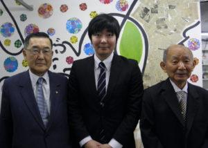 来社した桜井会長、谷野講師、蓮沼名誉会長
