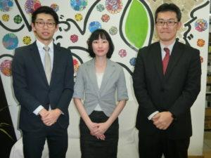 来社した渡邉さん、山口さん、大湊さん