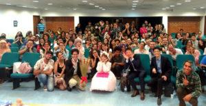 ブラジリア大学での講演後、全員で記念撮影【日本国大使館提供写真】