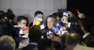 被告となった後の会見でのアエシオ氏(Jefferson Rudy/Agência Senado)