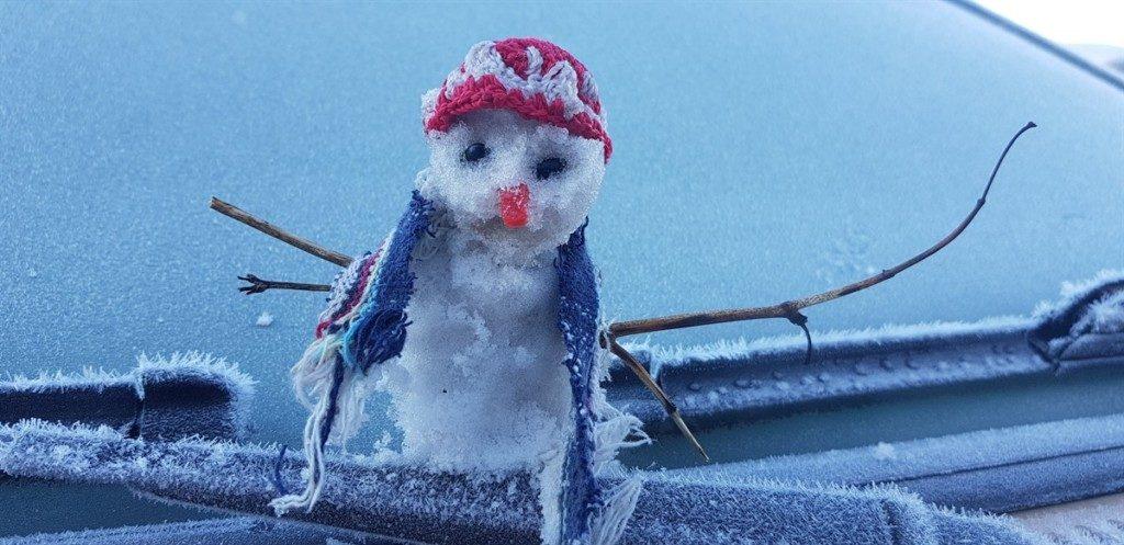 霜を集めて作った雪だるま(Mycchel Hudsonn Legnaghi/São Joaquim Online)