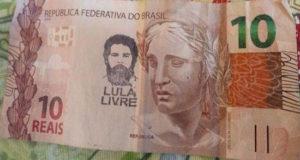 インターネットで拡散している、ルーラ元大統領の顔のスタンプ入り紙幣