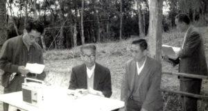創設時のメンバー。(左から)斉藤広志、アンドウ・ゼンパチ、増田秀一、河合武夫(人文研提供)