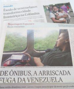 祖国を出るベネズエラ人を報道するエスタード紙6月3日付とフォーリャ紙6月10日付