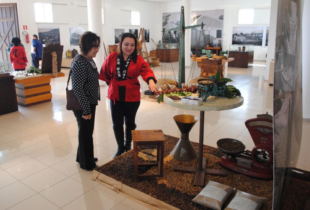 1階では日本移民が生業としたコーヒーと綿栽培についての展示が開催されている