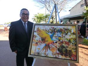 眞子さまに贈呈された画家・久保カルロス氏の絵画。15年にご訪問された秋篠宮同妃両殿下にも同氏の絵画が寄贈された