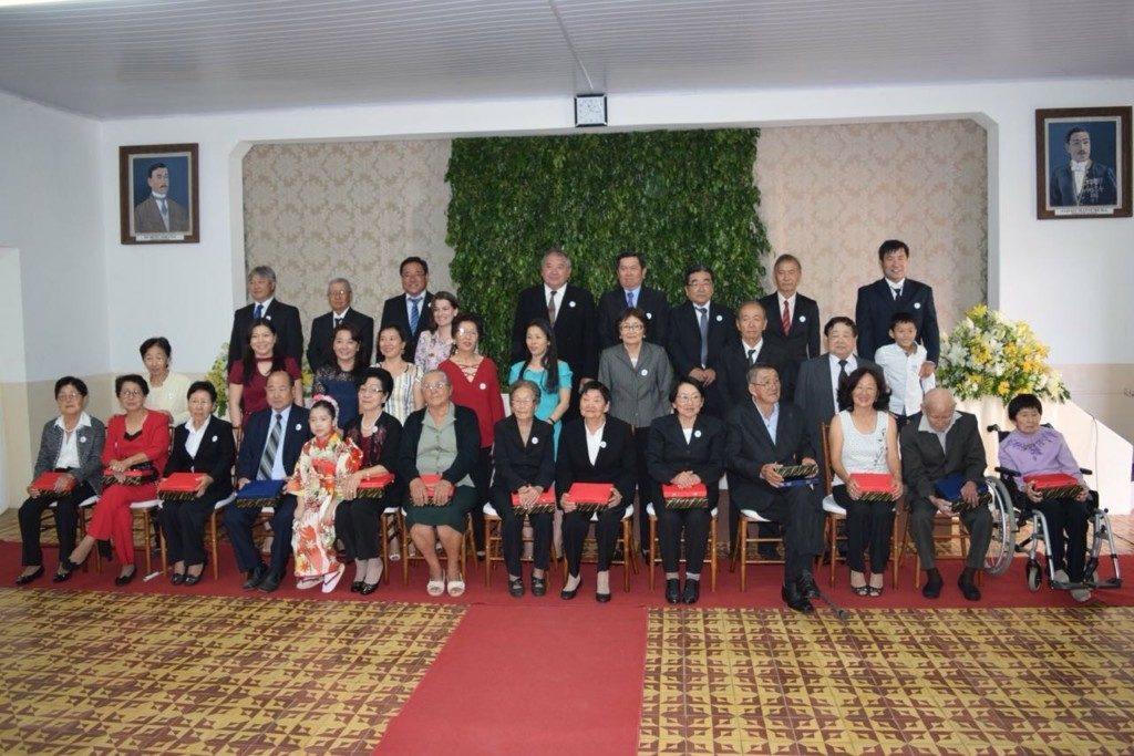 眞子さまご歓迎の後、敬老会では70歳以上の12人が表彰された(提供=平野農村文化体育協会)