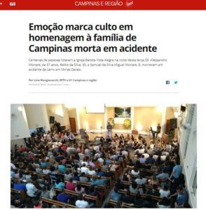 9日夜行われた、家族3人の通夜の様子を伝えるG1サイトの記事の一部