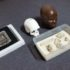 19日に公開されたルジアの化石と3Dによる復元模型、保管していた箱の一部(Leo Rodrigues/Agencia Brasil)