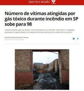有毒ガスの被害者が98人に増えた事を伝える9日付G1サイトの記事の一部