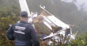 墜落したヘリの残骸(Divulgação/Corpo de Bombeiros)