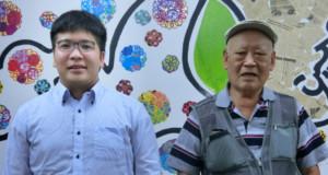 (左から)来社した飯田さん、大瀧渉外理事
