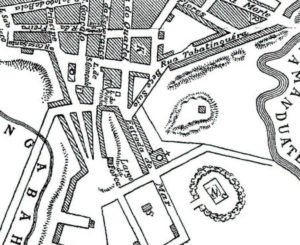 1810年のサンパウロ市セー地区の地図。Largo da Forcaが今のリベルダーデ広場、その下のSとあるのが墓地。その上のpelourinhoが今の9月7日広場、その上が当時のセー教会。Estrada do Marが今のグロリア街