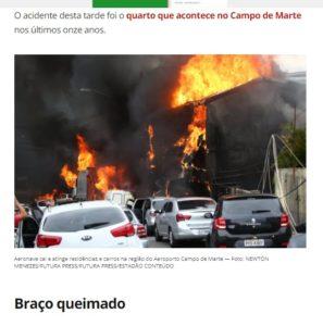 小型機に直撃され、黒煙と炎に包まれた民家(G1サイトの記事の一部)