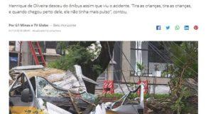 倒木に直撃されたスクールバス(7日付G1サイトの記事の一部)