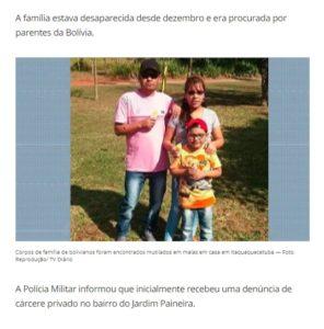 遺体となって発見されたボリビア人の一家(9日付G1サイトの記事の一部)
