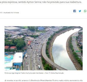 橋脚のひびなどが見つかり、使用禁止となった橋(23日付G1サイトの記事の一部)
