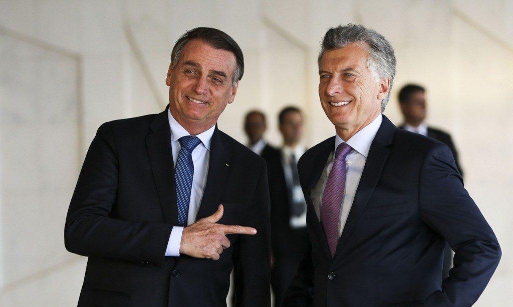 16日のボウソナロ大統領とマクリ大統領(Marcelo Camargo/Ag. Brasil)