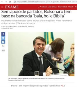 「ボウソナロには政党の支援がないが、Bancada BBB(bala, boi e Bíblia=弾丸、牛、聖書)を基盤とする」と報じるエザメ誌10月2日号電子版