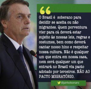 移民協定離脱翌日のボウソナロ大統領のつぶやき(twitter @jairbolsonaroより)